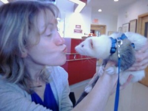 Karen with ferret Georgie